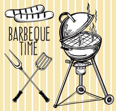 grilling: A set of retro style barbecue line art icons. BBQ  utensils. Grill stove, tongs and spatula and grilled sausage. Hand drawn isolated vector illustration.