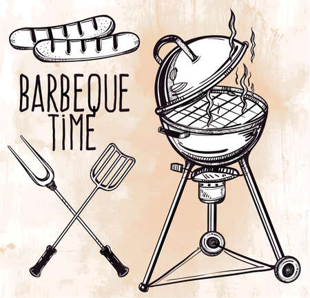 summer fun: A set of retro style barbecue line art icons. BBQ  utensils. Grill stove, tongs and spatula and grilled sausage. Hand drawn isolated vector illustration.