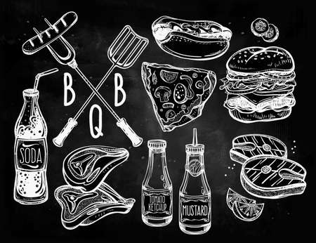 grill: BBQ Party Foods Set. Poster vintage linear style. Isolated vector illustration. Hand drawn elements.