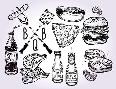 festa: BBQ Partido Foods Set. Poster do estilo linear vintage. Ilustração do vetor isolado. Mão elementos desenhados. Ilustração