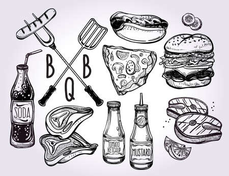 party animals: BBQ Party Foods Set. Poster vintage linear style. Isolated vector illustration. Hand drawn elements.