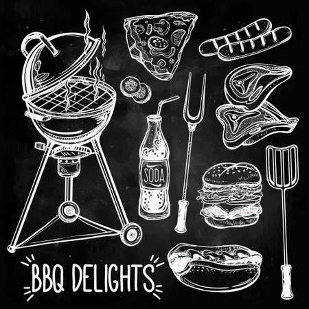 steak grill: BBQ Feast Party Set. Poster vintage linear style. Isolated vector illustration. Hand drawn elements.