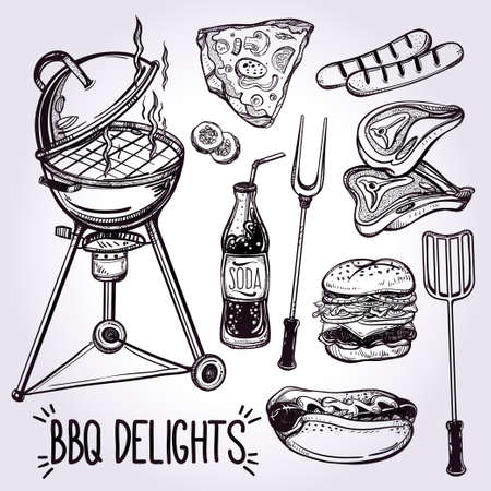 grill tongs sausage: BBQ Feast Party Set. Poster vintage linear style. Isolated vector illustration. Hand drawn elements.