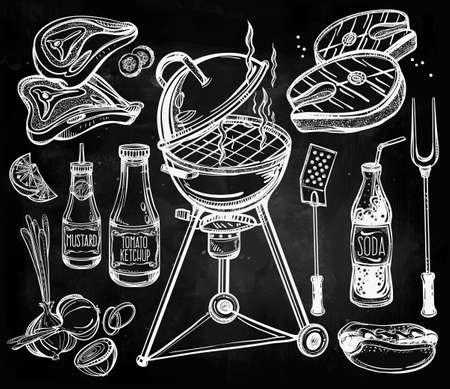 barbacoa: BBQ Party Alimentos Set. Estilo lineal del cartel del vintage. Ilustración vectorial aislado. Mano elementos dibujados. Vectores