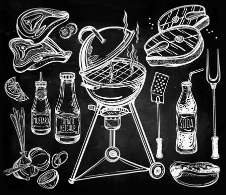 soda: BBQ Party Foods Set. Poster vintage linear style. Isolated vector illustration. Hand drawn elements.
