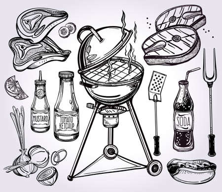 grilled vegetables: BBQ Party Foods Set. Poster vintage linear style. Isolated vector illustration. Hand drawn elements.