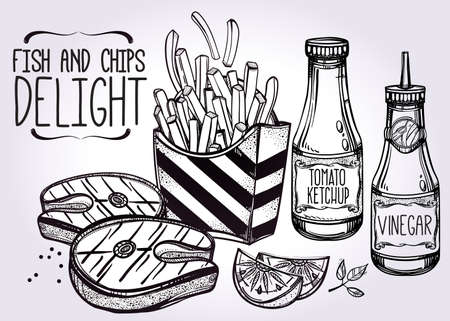 pescado frito: Fish and Chips Set. Fast cartel de comida de estilo lineal de la vendimia. Ilustraci�n vectorial aislado. Bocadillos elaborados a mano. Plantilla de men� perfecto para el restaurante o bar, pub. Vectores