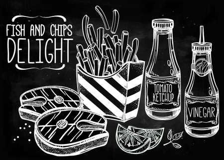 fillet steak: Fish and Chips Set . Fast food poster vintage linear style. Isolated vector illustration. Hand drawn snacks . Perfect menu template for restaurant or bar, pub.