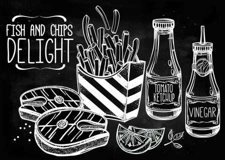 fish and chips: Fish and Chips Set. Fast cartel de comida de estilo lineal de la vendimia. Ilustración vectorial aislado. Bocadillos elaborados a mano. Plantilla de menú perfecto para el restaurante o bar, pub. Vectores