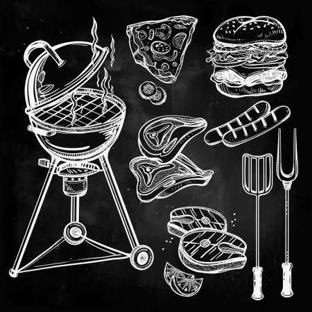 meat: BBQ Party Set. Poster vintage linear style. Isolated vector illustration. Hand drawn elements. Menu template for restaurant, bar, pub.