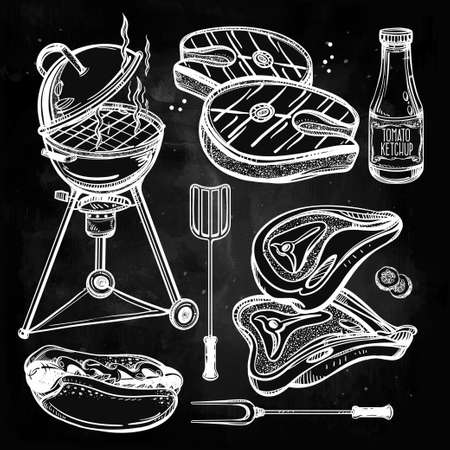 pub food: BBQ Party Set. Poster vintage linear style. Isolated vector illustration. Hand drawn food elements. Menu template for restaurant, bar, pub.