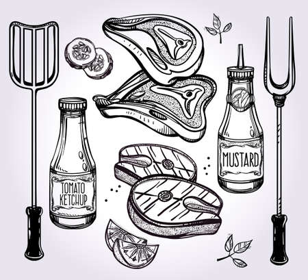 fish steak: Meat Cooking Set .Food poster vintage linear style. Isolated vector illustration. Hand drawn elements. Fish, Lemon, Meat Steak, Sauces, Cook Utensils. Perfect menu template for restaurant or bar, pub.
