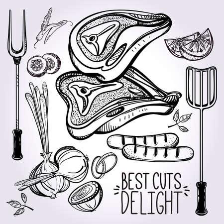carne cruda: Set Carne Cocinar .food estilo lineal de la vendimia. Ilustraci�n vectorial aislado. Mano elementos dibujados. Plantilla de men� perfecto para el restaurante o bar, pub.