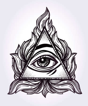 retro design: All seeing eye pyramid symbol. New World Order. Hand-drawn Eye of Providence. Alchemy, religion, spirituality, occultism, tattoo art. Isolated vector illustration. Conspiracy theory. Illustration
