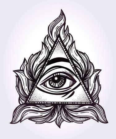 alquimia: Todo viendo símbolo de la pirámide del ojo. Nuevo orden mundial. Dibujado a mano Ojo de la Providencia. Alquimia, la religión, la espiritualidad, el ocultismo, el arte del tatuaje. Ilustración vectorial aislado. Teoría de conspiración.