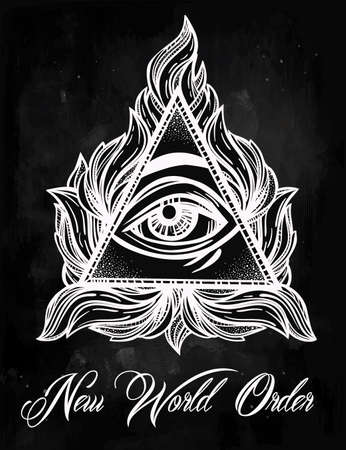 new world order: All seeing eye pyramid symbol. New World Order. Hand-drawn Eye of Providence. Alchemy, religion, spirituality, occultism, tattoo art. Isolated vector illustration. Conspiracy theory. Illustration