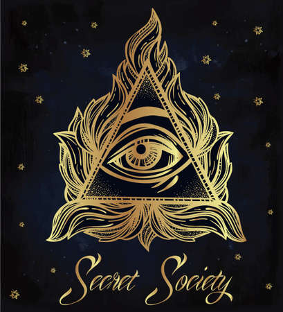 golden religious symbols: All seeing eye pyramid symbol. New World Order. Hand-drawn Eye of Providence. Alchemy, religion, spirituality, occultism, tattoo art. Isolated vector illustration. Conspiracy theory. Illustration