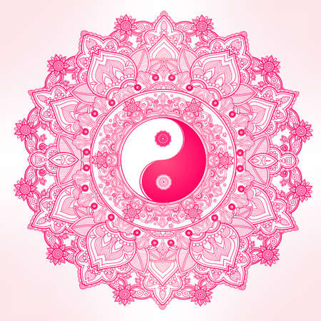 tantra: Yin and Yang Tao mandala symbol. Round Ornament Pattern. Vector isolated illustration. Paisley background. Vintage decorative oriental symbol of harmony, balance. Tattoo, yoga, spirituality, textiles Illustration
