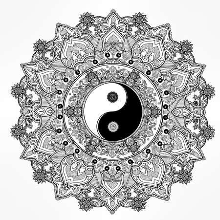 spirituality: Yin and Yang Tao mandala symbol. Round Ornament Pattern. Vector isolated illustration. Paisley background. Vintage decorative oriental symbol of harmony, balance. Tattoo, yoga, spirituality, textiles Illustration