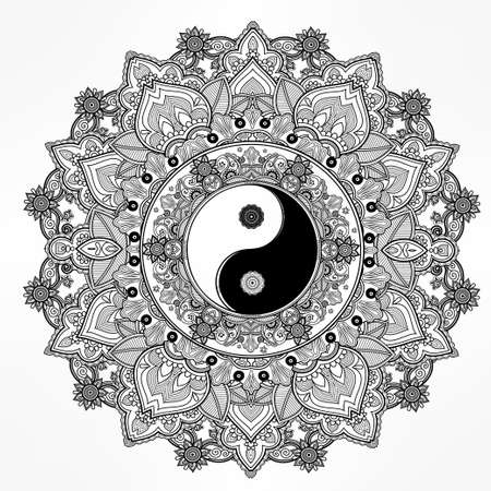 armonia: Yin y Yang Tao símbolo mandala. Patrón de ornamento redondo. Ilustración vectorial aislado. Fondo de Paisley. Vintage símbolo decorativo oriental de armonía, equilibrio. Tatuaje, yoga, espiritualidad, textiles
