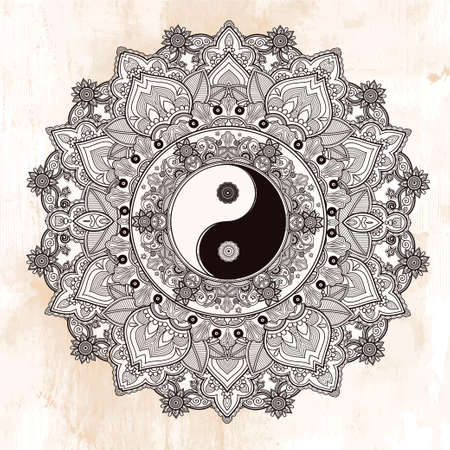 symbol: Yin and Yang Tao mandala symbol. Round Ornament Pattern. Vector isolated illustration. Paisley background. Vintage decorative oriental symbol of harmony, balance. Tattoo, yoga, spirituality, textiles Illustration