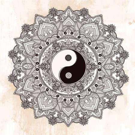 armonía: Yin y Yang Tao símbolo mandala. Patrón de ornamento redondo. Ilustración vectorial aislado. Fondo de Paisley. Vintage símbolo decorativo oriental de armonía, equilibrio. Tatuaje, yoga, espiritualidad, textiles