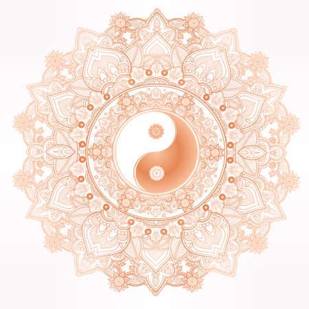 yan: Yin and Yang Tao mandala symbol. Round Ornament Pattern. Vector isolated illustration. Paisley background. Vintage decorative oriental symbol of harmony, balance. Tattoo, yoga, spirituality, textiles Illustration