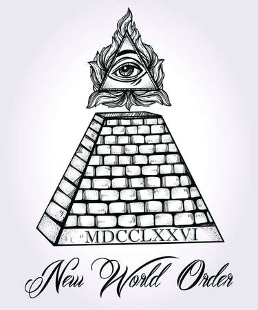 illuminati: All seeing eye pyramid symbol. New World Order. Hand-drawn Eye of Providence. Alchemy, religion, spirituality, occultism, tattoo art. Isolated vector illustration. Conspiracy theory. Illustration