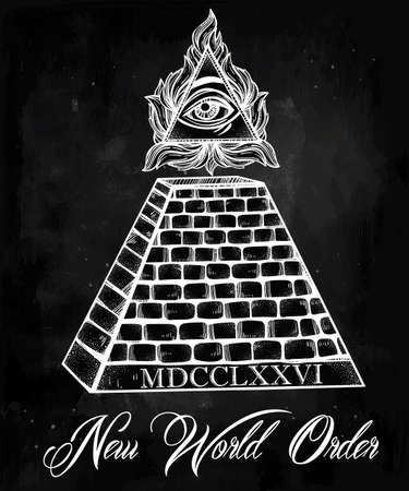 conspiracy: All seeing eye pyramid symbol. New World Order. Hand-drawn Eye of Providence. Alchemy, religion, spirituality, occultism, tattoo art. Isolated vector illustration. Conspiracy theory. Illustration