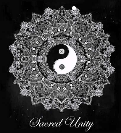yin y yang: Yin y Yang Tao símbolo mandala. Patrón de ornamento redondo. Ilustración vectorial aislado. Fondo de Paisley. Vintage símbolo decorativo oriental de armonía, equilibrio. Tatuaje, yoga, espiritualidad, textiles
