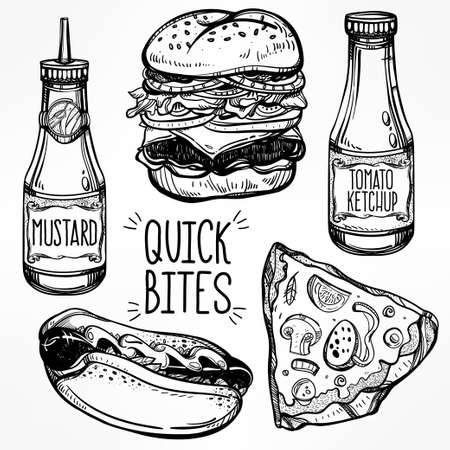 fast drawing: Fast food set vintage linear style. Isolated vector illustration. Hand drawn retro snacks . Symbols of foods. Pizza, Hot Dog, French Fries, Hamburger, Cheeseburger Soda, Sauces. Perfect menu template. Illustration