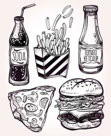 pizza ingredients: Fast food set vintage linear style. Isolated vector illustration. Hand drawn retro snacks . Symbols of foods. Pizza, Hot Dog, French Fries, Hamburger, Cheeseburger Soda, Sauces. Perfect menu template. Illustration