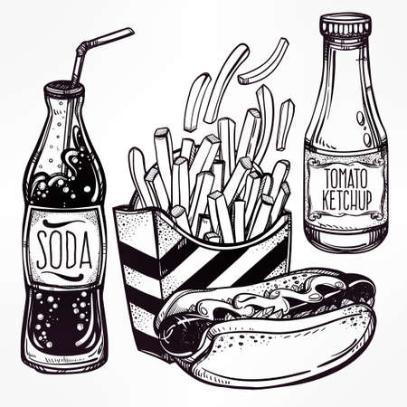 soda: Fast food set vintage linear style. Isolated vector illustration. Hand drawn retro snacks . Symbols of foods. Pizza, Hot Dog, French Fries, Hamburger, Cheeseburger Soda, Sauces. Perfect menu template. Illustration