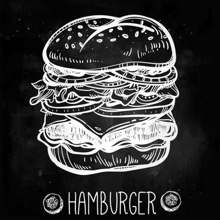 gourmet burger: Vintage style hand drawn illustration of big and tasty gourmet Cheeseburger or Hamburger. Sketch Isolated Vector illustration. Perfect menu template.