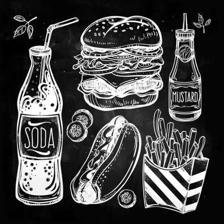 sauces: Fast food set vintage linear style. Isolated vector illustration. Hand drawn retro snacks . Symbols of foods. Pizza, Hot Dog, French Fries, Hamburger, Cheeseburger Soda, Sauces. Perfect menu template. Illustration