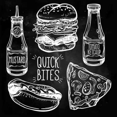hamburger and fries: Fast food set vintage linear style. Isolated vector illustration. Hand drawn retro snacks . Symbols of foods. Pizza, Hot Dog, French Fries, Hamburger, Cheeseburger Soda, Sauces. Perfect menu template. Illustration