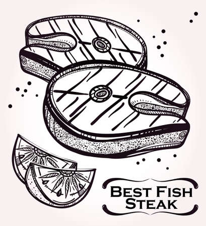 fish steak: Retro style linear drawing of  delicious slab of Fish Steak meat and lemon. Best cuts of fish fillet. Sketch Isolated Vector illustration. Perfect menu, sushi, butchers or fishmongers shop template. Illustration