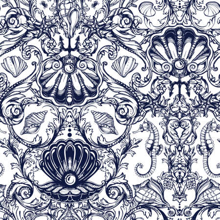 victorian wallpaper: Seamless pattern with sea and marine vintage elements. Original hand drawn illustration Victorian style. Isolated vector background. Fabrics, textiles, paper, wallpaper. Retro hand drawn ornament.