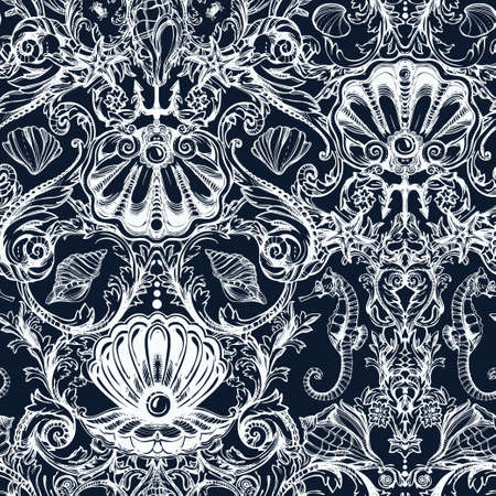 victorian pattern: Seamless pattern with sea and marine vintage elements. Original hand drawn illustration Victorian style. Isolated vector background. Fabrics, textiles, paper, wallpaper. Retro hand drawn ornament.