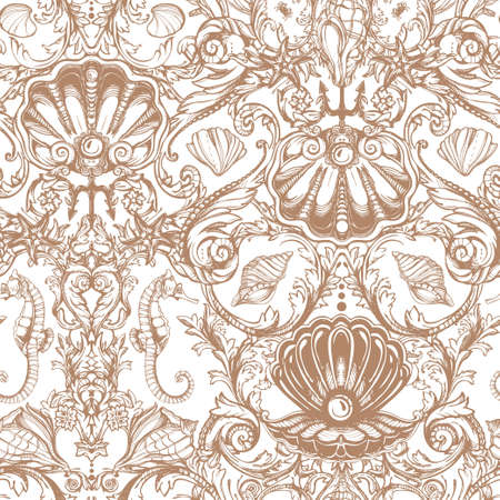 paper old: Seamless pattern with sea and marine vintage elements. Original hand drawn illustration Victorian style. Isolated vector background. Fabrics, textiles, paper, wallpaper. Retro hand drawn ornament.