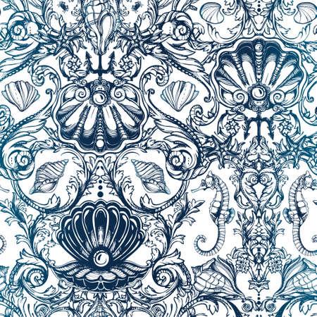 textil: Patrón sin fisuras con el mar y elementos marinos vintage. Ejemplo dibujado mano original estilo victoriano. Vector de fondo aislado. Tejidos, textiles, papel, papel tapiz. Mano retro dibujado ornamento. Vectores