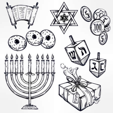 dreidel: Hanukkah celebration elements set. Vintage style festive objects. Isolated vector illustration.