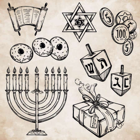 chanukah: Hanukkah celebration elements set. Vintage style festive objects. Isolated vector illustration.