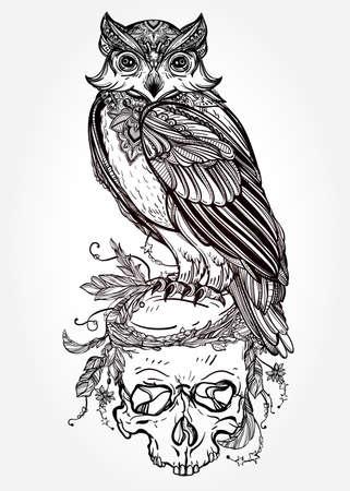 muerte: Altamente detallado dibujado mano del buho con el estilo de diseño scull adornado vintage. Ilustración vectorial aislado. Objetos de la naturaleza mágica. Contorno del tatuaje. Invitación retro, tarjeta, reserva de chatarra. camiseta, bolso, cartel.