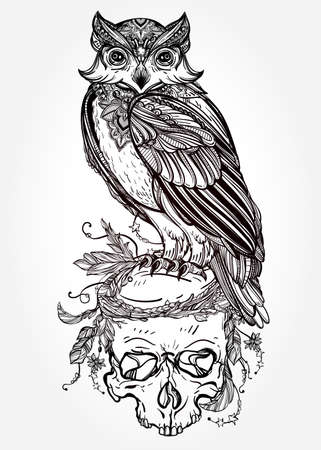 engraving print: Highly detailed hand drawn Owl with ornate scull design vintage style. Vector illustration isolated. Magic nature objects. Tattoo outline. Retro invitation,card, scrap booking. t-shirt, bag, poster.