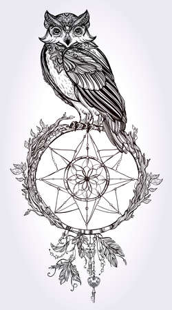 catcher: Vintage detailed hand drawn Owl with dream catcher, feathers, keys. Vector illustration isolated. Magic nature objects. Tattoo outline.
