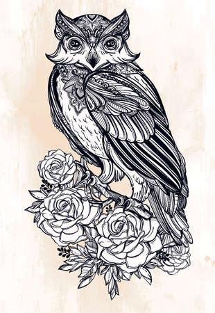 tatouage fleur: Hautement main détaillée attirée Owl avec des roses style vintage. Vector illustration isolé. Objets de la nature magique. Ligne de tatouage. Illustration