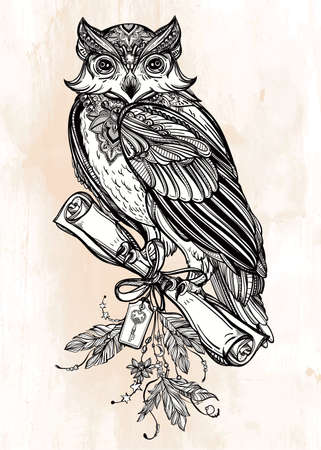 victorian vintage: Detailed hand drawn vintage Owl with a letter manuscript. Vector illustration isolated. Magic Victorian nature art. Tattoo outline. Retro banner,card, scrap booking. t-shirt, bag, postcard, poster.