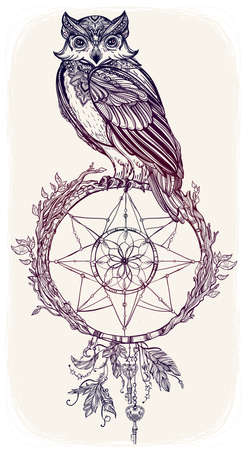 isolated owl: Vintage detailed hand drawn Owl with dream catcher, feathers, keys. Vector illustration isolated. Magic nature objects. Tattoo outline.