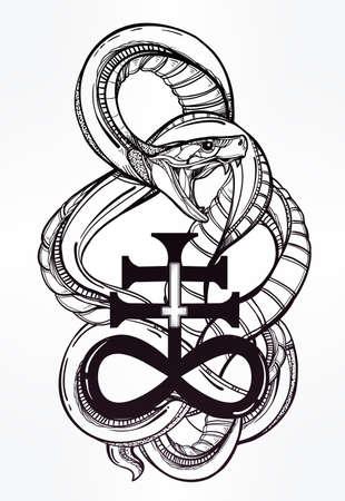 satan: Dibujado a mano del arte del tatuaje del vintage. Símbolo de la vendimia, serpiente dibujado a mano muy detallado con cruz satánica, símbolo de Satanás en el estilo lineal. Grabado arte vectorial aislado.